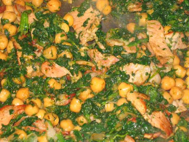 Chickpeas, bacon and spinach post image