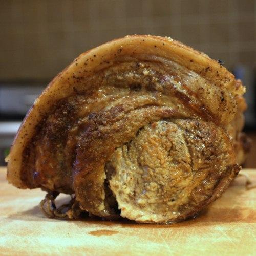 Porchetta, slow roasted Italian loin of pork with crackling