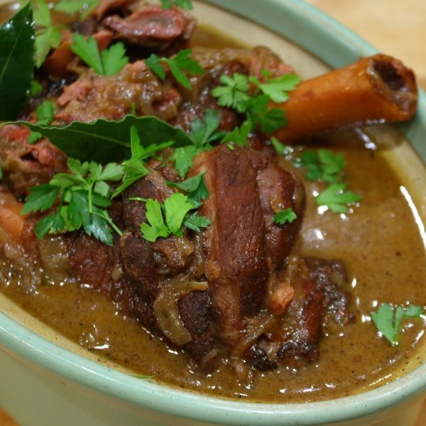 North African slow-cooked lamb shanks