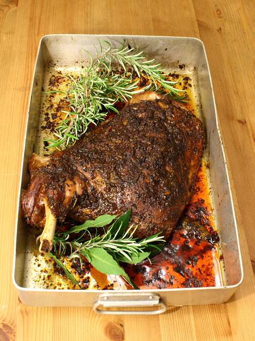 Very slow roasted shoulder of lamb with merguez spices