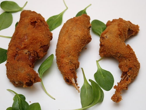 Deep fried confit rabbit with mustard and breadcrumbs