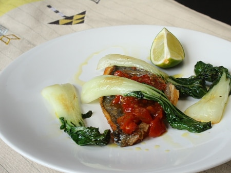 Sea bream with tomato chutney and pak choi