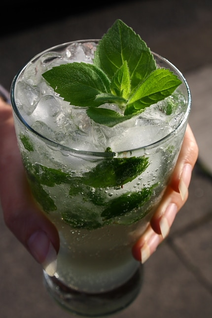 The mojito, a classic Carribean rum and mint cocktail