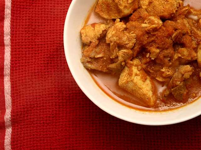 Madhur Jaffrey's See-Pyan, or Burmese chicken curry, an exciting collision of Indian and southeast Asian flavours.