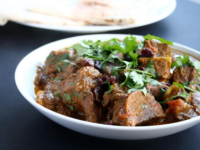 Moghul lamb or mutton with onions and raisins, by Madhur Jaffrey