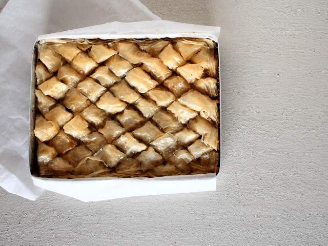 Turkish baklava - a rich dessert of filo pastry, nuts and sugar syrup.