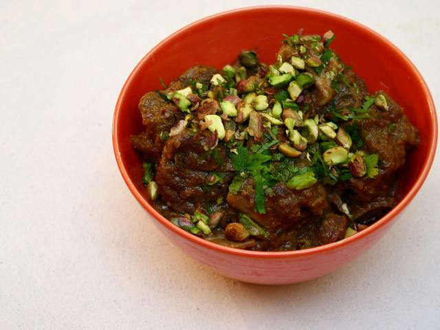 Lamb or mutton with cream, Malai Gosht, by Madhur Jaffrey