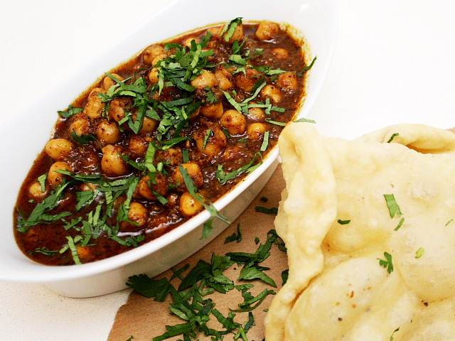 Chole, or cinnamon spiced chickpea vegetarian and vegan curry