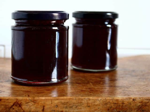 Blackberry and apple preserve, jam or jelly.