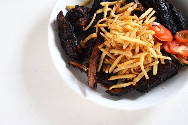 Slow-roast, char-grilled barbecue beef short ribs