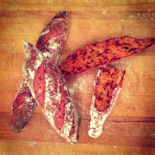 Beetroot and thyme French baguettes