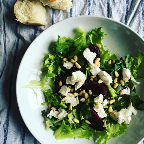 Roast beetroot, goat's cheese and pine kernel salad
